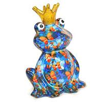 Spardose Frosch Charlie - blau mit Schmetterlingen