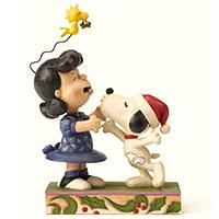 Jim Shore Figur -Mistletoe Mischief - Snoopy & Lucy-