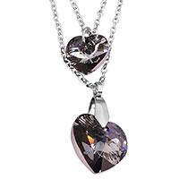 Akzent Anker-Halskette aus Edelstahl mit Kristall-Herzen