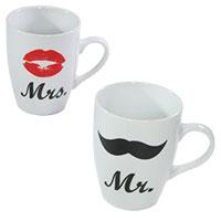 Geschenk-Set: Porzellanbecher Mrs. und Mr.