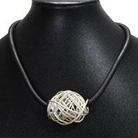 Metallknäuel am Kautschukband - silber
