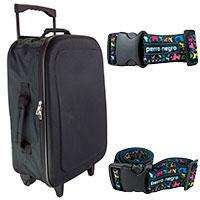 Reiseset: schwarzer Trolley mit 2 perro negro Koffergurten
