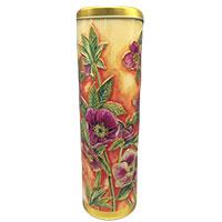 Zylinderförmige Metalldose mit zauberhaftem Christrosen-Dekor