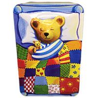 Zauberhafte Geschenkdose: Schlafender Teddy im Bett