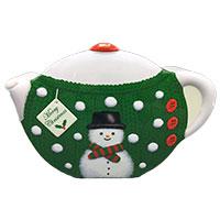 Teapot Christmas Snowmann grün