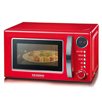 Severin Retro-Mikrowelle mit Grillfunktion 2-in-1 rot-chrom