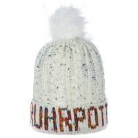Stylische Mütze mit Bommel - Ruhrpott - beige-weiß