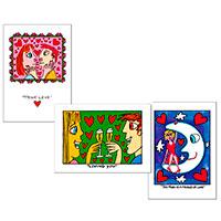 3er Postkarten-Set James Rizzi - Love -