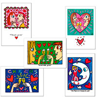 Set mit 5 Postkarten von James Rizzi - Love -