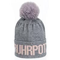 Stylische Ruhrpott-Mütze mit Bommel - Agneta - grau-rosé