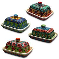 Butterdosen aus handbemalter Keramik