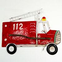 Shabby Chic: Metallbild Feuerwehrwagen