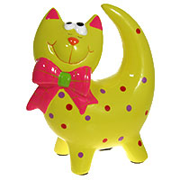 Keramikspardose Katze gelb
