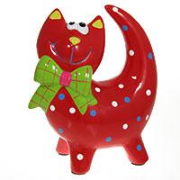 Keramikspardose Katze rot
