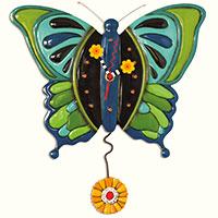Zauberhafte Schmetterlings-Wanduhr mit Pendel – von Hand bemalt!