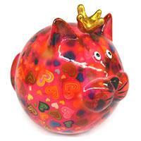 Spardose Katze -Frieda- rosa mit Herzen