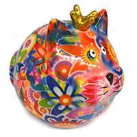Spardose Katze -Frieda- bunt mit Blumen