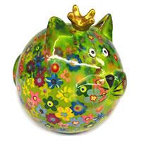 Spardose Katze -Frieda- grün mit Blumen