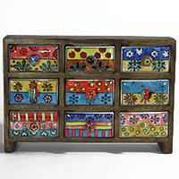 Minikommode mit 9 Keramikschüben