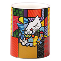 ROMERO BRITTO - Motivkerze -Blue Cat-