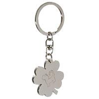 Schlüsselanhänger Kleeblatt mit perro negro Gravur