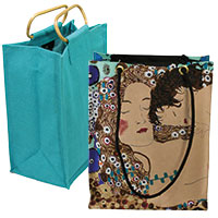 Taschenset: Gustav Klimt Shopper & Bottle bag türkis